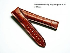 Omega Tan Alligator grained strap for deployant 22/18