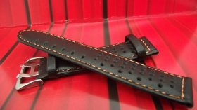 Black perforated Leather strap in 20mm orange stitching