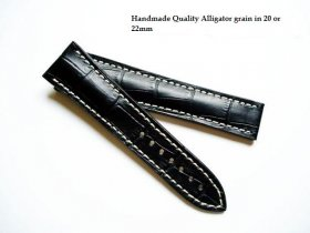 Omega Black Alligator grained strap for deployant 22/18