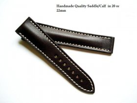 Omega soft Brown Saddle leather strap for deployant 22/18