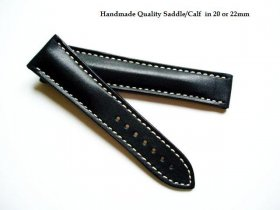 Omega soft Black Saddle Leather strap for deployant 22/18