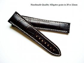 Omega Brown Alligator grained strap for deployant 22/18